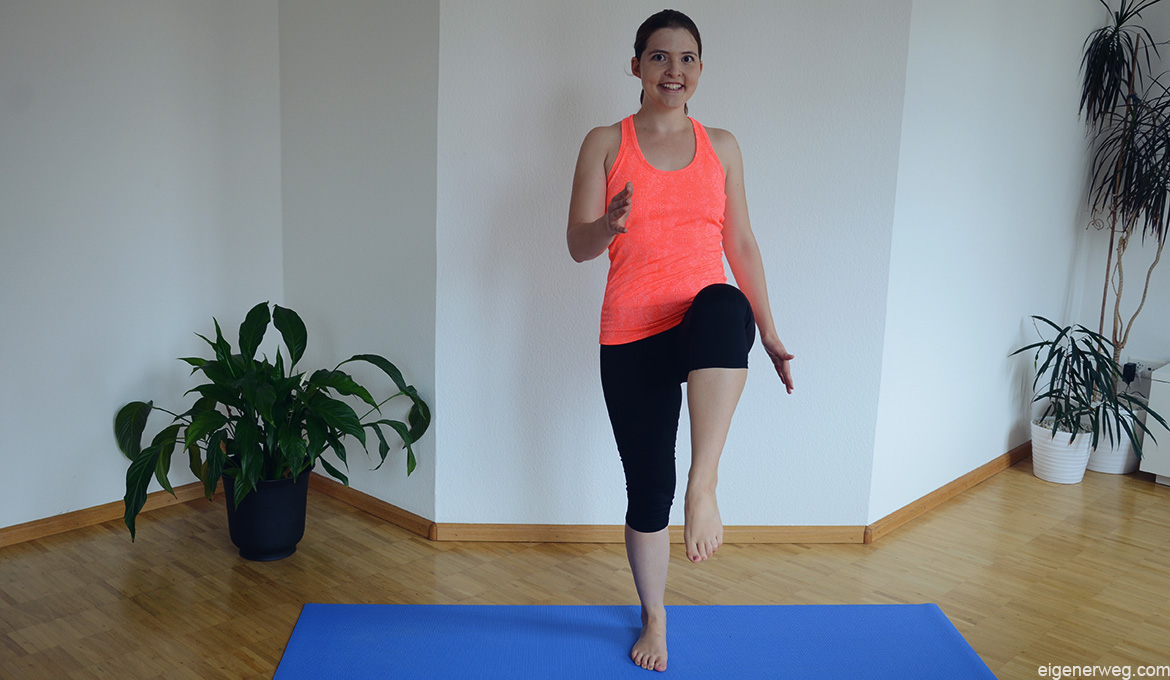 Training-Knieheben-Aufwärmen-Ariana-Sport-Workout