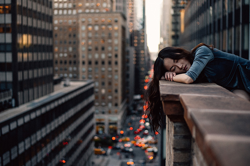 Schlafende Frau, übermüdet, Schlaf