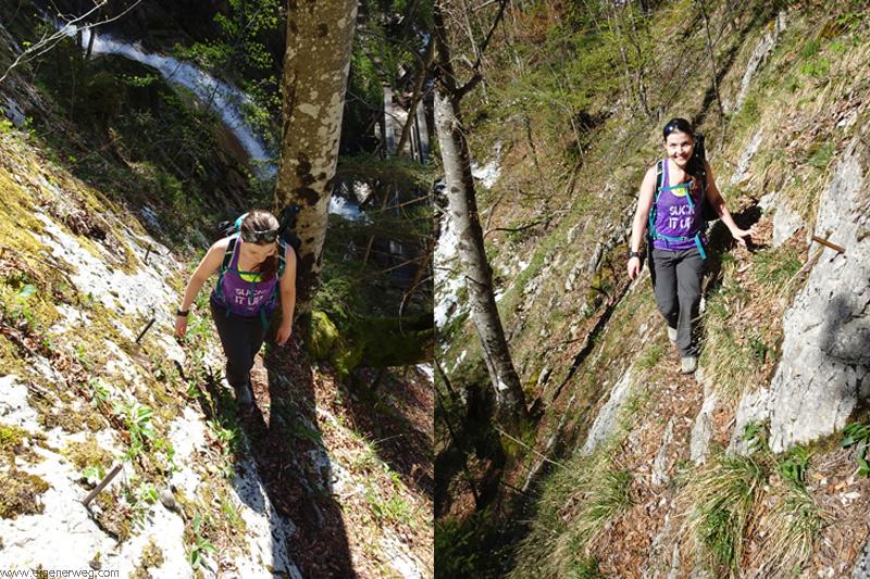 Ariana Röthlisberger am Mini Klettersteig am Mont Raimeux
